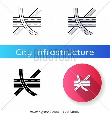 Multi Level Junction Chalk White Icon On Black Background. Highway System. Multiple Roads. Route For