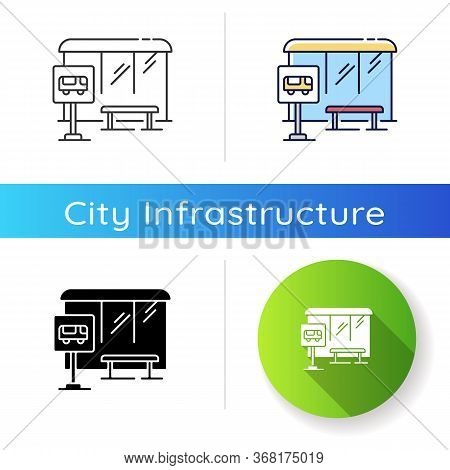 Bus Stop Icon. Wait For Public Transport. Urban Commuter Transit. City Infrastructure. Road Sign Nea