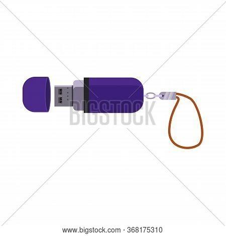 Purple Flash Drive Illustration. Usb Flash, Memory Stick, Portable Device. Memory Data Storage Conce