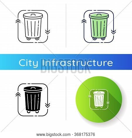 Waste Disposal Icon. Recycle Garbage. Reduce Trash. Junk Management And Litter Separation. Environme