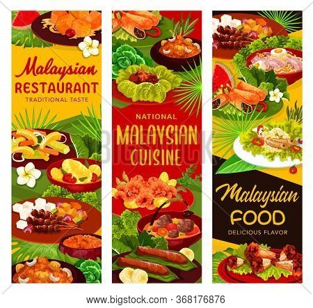 Malaysian Cuisine Restaurant Menu Meals Banners. Meals With Chicken And Fish Meat, Hot Curry And Noo