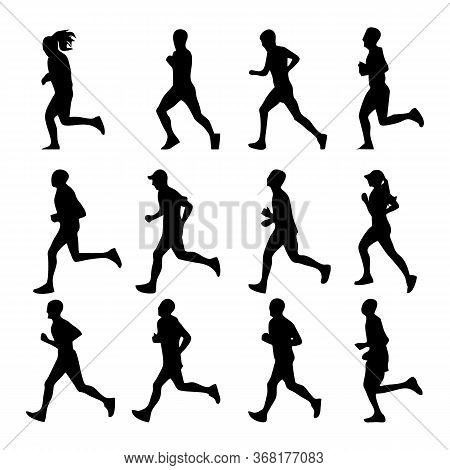 Runner Silhouette Vector Image, Vector Illustration Design