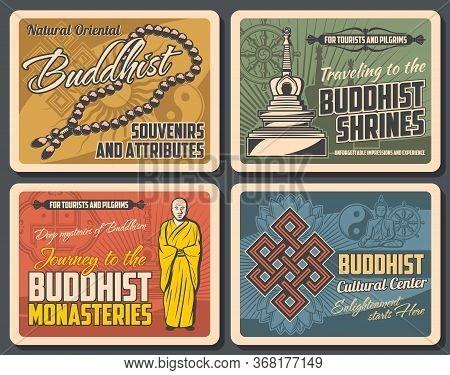 Buddhism Religion. Vector Buddhist Symbolic Stupa, Tibetan Monk, Prayer And Dharma Wheel, Endless Kn