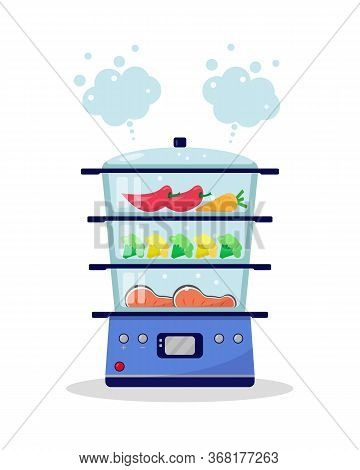 Steamer With Food. Vegetables And Fish Are Cooked In A Steamer. Cooking In A Steamer Concept. Vector