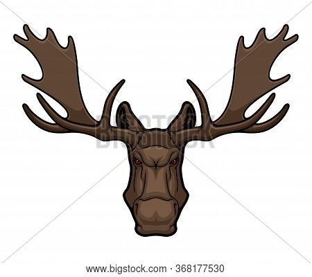 Angry Elk Or Moose Mascot With Horns, Isolated Animal Head Vector Icon, Hunting Club Or Sport Team M