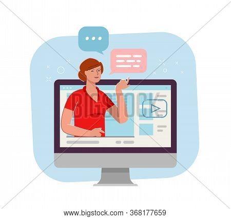 Webinar, Live Stream. Video Blogger Cartoon Vector Illustration