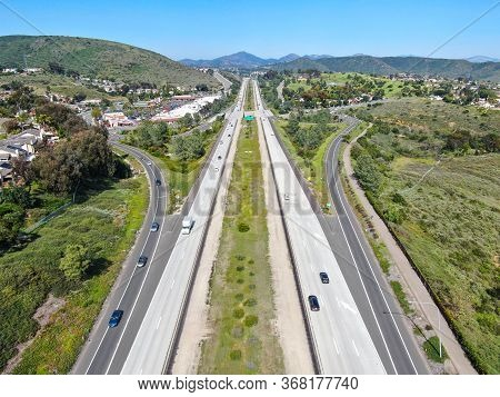 Aerial View Of Highway, Freeway Road With Vehicle In Movement. California, Usa.