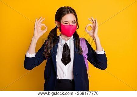 Portrait Of Joyful High School Teenager Girl Enjoy Lecture Lesson Show Okay Sign Wink Blink Wear Bla