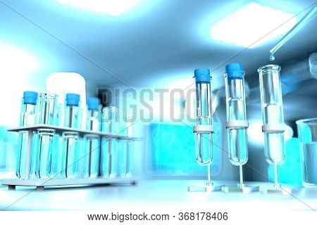 Drinkable Water Quality Test For Viruses (like Covid-2019) Concept - Laboratory Test-tubes In Modern
