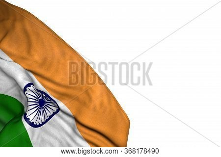 Cute Any Holiday Flag 3d Illustration  - India Flag With Large Folds Lying In Bottom Left Corner Iso