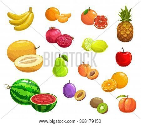 Cartoon Fruits Vector Pineapple, Peach And Banana, Pomegranate And Pear. Watermelon, Melon, Kiwi And