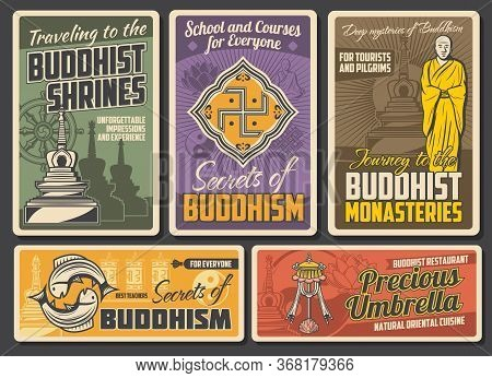 Buddhism Religion Retro Posters. Vector Buddhist Stupa Building, Tibetan Monk, Golden Fishes And Pre