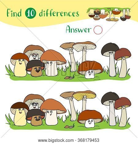 Cartoon Illustration With A Group Of Funny Mushrooms Of Different Sizes. Find 10 Differences. Educat