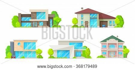 Houses, Cottages, Villas And Bungalow Isolated Vector Icons Set. Residential Home Buildings, Real Es