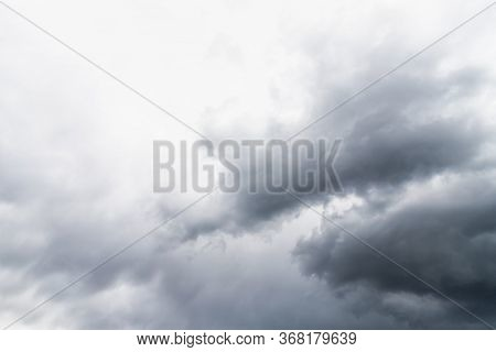 Dramatic Gray Clouds In The Sky. Beautiful Gray And White Cloudy Rainy Sky