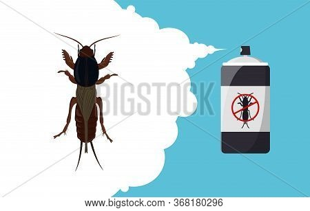 Mole Cricket Repellent Banner Concept. Insect Repellent Aerosol. Pest, Insect And Bug Control Spray