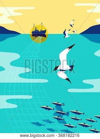 Nautical Vintage Poster. Seagull Flight Minimal Style. Flying Sea Bird Fishing For Herring. Commerci