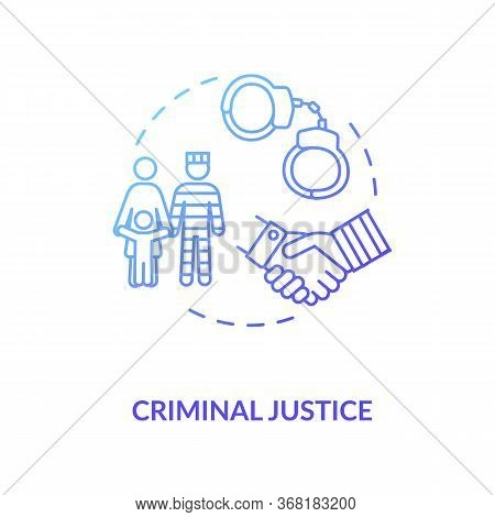 Criminal Justice Concept Icon. Social Service And Legal Consulting Idea Thin Line Illustration. Inma