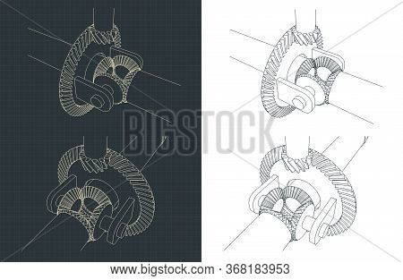 Stylized Vector Illustration Of Automobile Differential Color Drawings