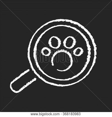 Zoology Chalk White Icon On Black Background. Natural Science, Wildlife Biology, Fauna Studying, Ani