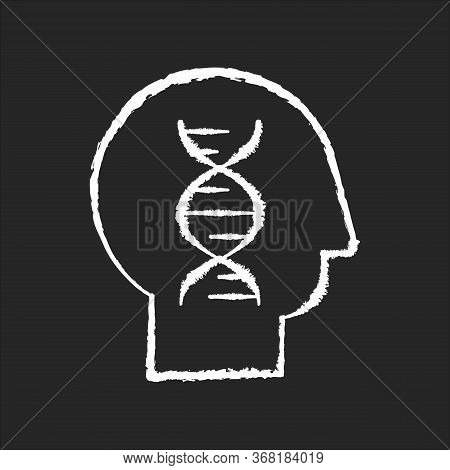 Human Biology Chalk White Icon On Black Background. Modern Science, Natural Field Of Study. Genetics