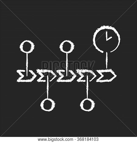 Chronology Chalk White Icon On Black Background. Scientific Field Of Study, History Research, School