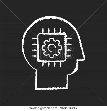 Cybernetics Chalk White Icon On Black Background. Futuristic Science, Innovative Technology. Artific