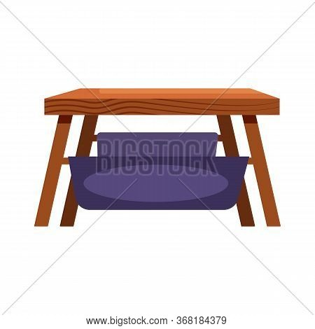 Wooden Coffee Table With Hammock Flat Icon. Bench, Stool, Living Room. Chairs Concept. Illustration
