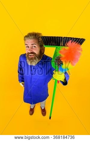 House Cleaning. Broom. Bearded Man With Cleaning Equipment. Professional Cleaning. Cleaning Service.