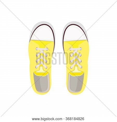 Yellow Sport Shoes Illustration. Sportswear, Running, Fitness. Shoes Concept. Illustration Can Be Us