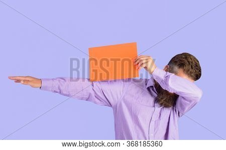 Sale. Discount. Advertising Banner. Man With Blank Board. Bearded Man Shows Empty Board. Space For Y