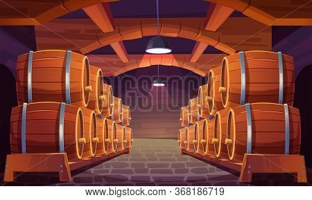 Wood Barrels For Wine Or Beer In Cellar. Cask From Oak Wood On Stand In Storage Room Of Brewery Or W
