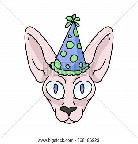 Cute Cartoon Sphynx Kitten Face With Party Hat Vector Clipart. Pedigree Exotic Breed For Cat Lovers.