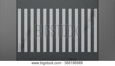 Crosswalk On Car Road Top View. Vector Realistic Background With White Zebra Lines Road Marking On B