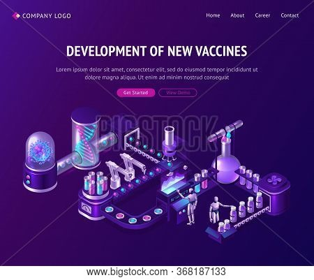 Vaccine Development In Laboratory Isometric Landing Page, Ai Cyborgs Managing Conveyor Belt With Rob