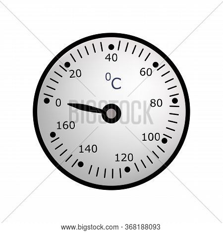 Industrial Thermometer . Temperature, Boiler Room, Heating Pipe Thermometer. Thermometer Concept. Il