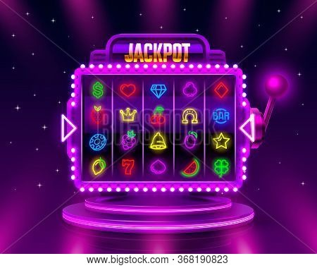 Jackpot Slots Neon Icons, Casino Slot Sign Machine, Night Vegas.