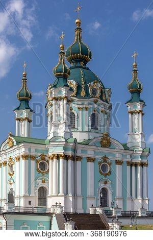 Beautiful View Of St. Andrew's Church, St. Andrew's Descent, Podil, Dnieper. Kiev. Ukraine.