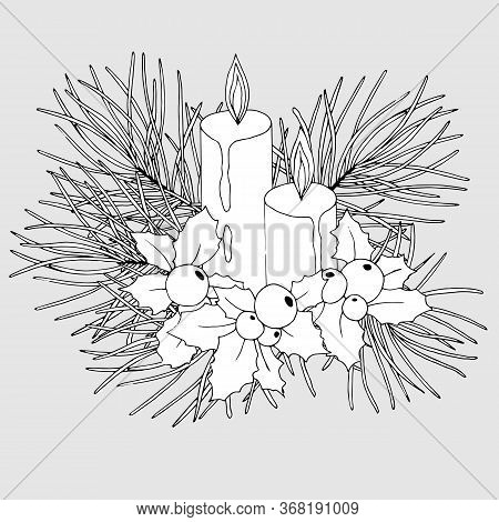 Christmas Composition With Mistletoe, Fir Branches And Candles In Black And White