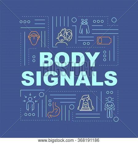 Hunger Body Signals Word Concepts Banner. Appetite Sense And Digestive Upset. Infographics With Line