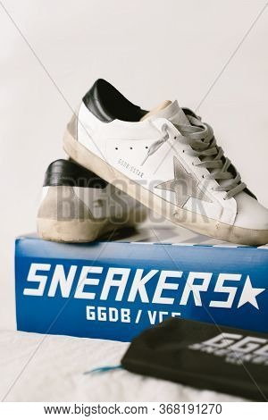 Ggdb Logo, Golden Goose Deluxe Brand Superstar Sneakers With Box.