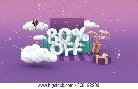 80 Eighty Percent Off 3d Illustration In Cartoon Style. Clearance, Sale, Discount Concept.