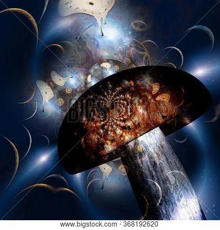 Hallucinogenic mushroom and melting clocks. 3D rendering