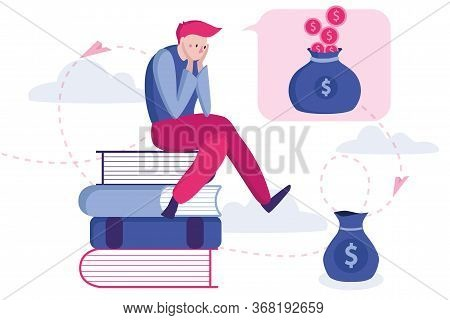 Money Problem And Financial Trouble Vector Illustration. Frustrated Man Doesn't Know How To Make Mon
