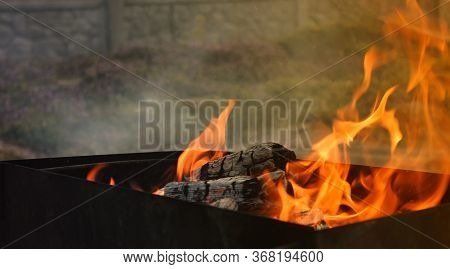 A Cashed Fire In A Country House. Camping On A Nice Spring Day.