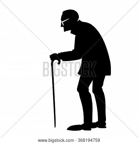 Vector Black Silhouette Of An Old Man Or Old Woman, A Lonely Elderly Person, Old And Sick, In Need O