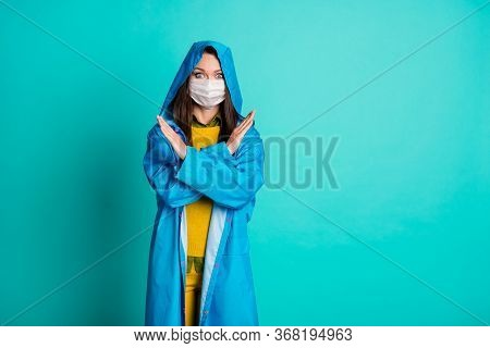 Photo Of Attractive Pretty Lady Rainy Weather Street Walk Use Medical Protective Mask Arms Crossed S