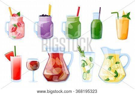 Summer Tropical Beverages Vector Illustration. Smoothie, Fresh Juice, Sangria, Lemonade Beach Bar Me