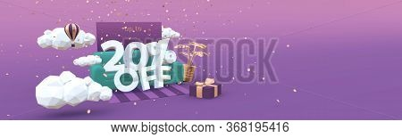 20 Twenty Percent Off 3d Illustration Banner In Cartoon Style. Clearance, Discount, Sale Concept.