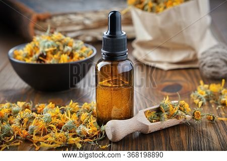 Dropper Bottle Of Calendula Essential Oil, Infusion Or Serum, Healthy Marigold Flowers In Bowl And P
